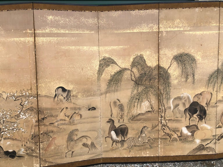 Japanese 20 Horses Fine Antique Six-Panel Screen, Edo Period, 19th Century In Good Condition For Sale In Shelburne, VT
