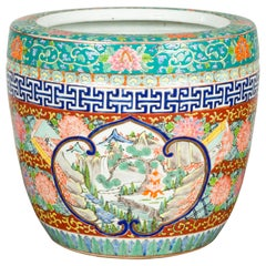 Japanese 20th Century Multi-Color Hibachi Planter with Landscape Scene