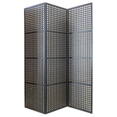 Japanese 3-Panel Geometric Lacquered Screen