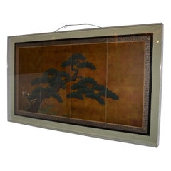 Japanese 4 Panel Gilded and Painted Screen, Framed in Lucite