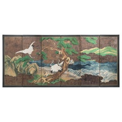 Japanese 6-Panel Screen of Cranes Amidst Pine Trees by Water