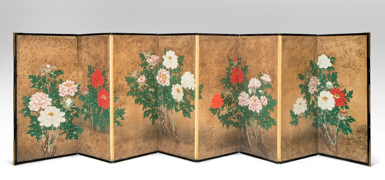 Japanese 8-panel screen of flowering peonies A remarkable and rare low screen with each panel featuring an exuberant display of glorious multicolored peonies. The gold maki-e background centered with branches of blooming red, pink and white peonies