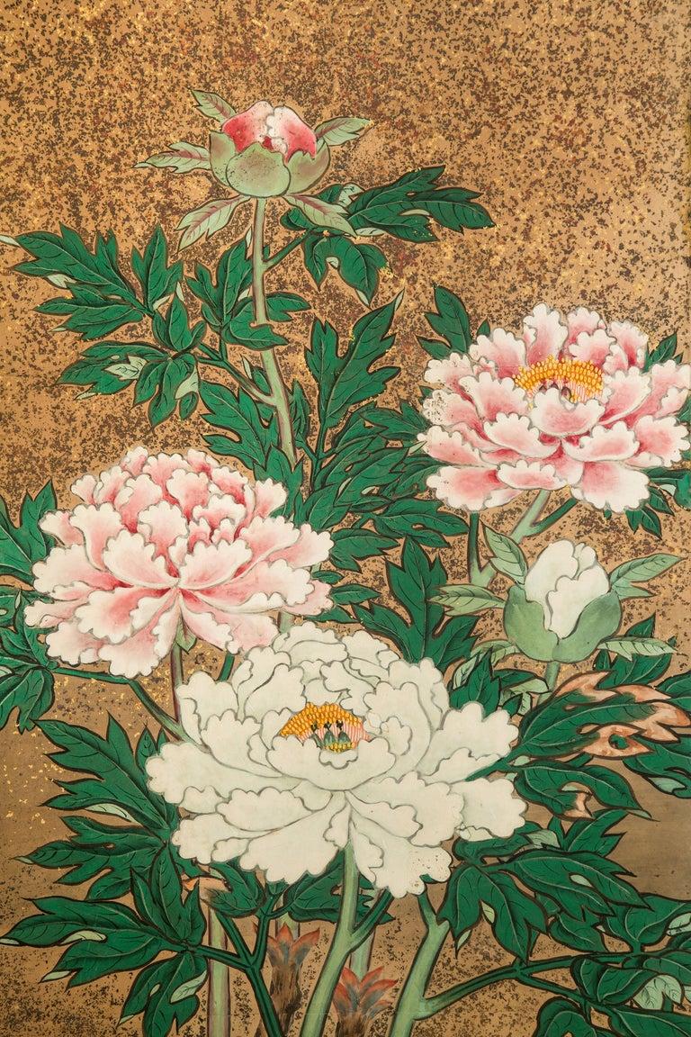 Painted Japanese 8 Panel Screen of Flowering Peonies For Sale