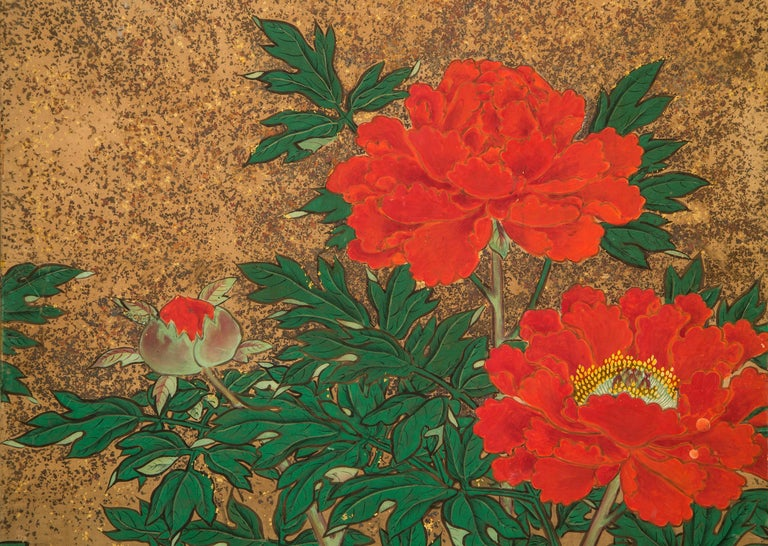 Japanese 8 Panel Screen of Flowering Peonies In Good Condition For Sale In New York, NY