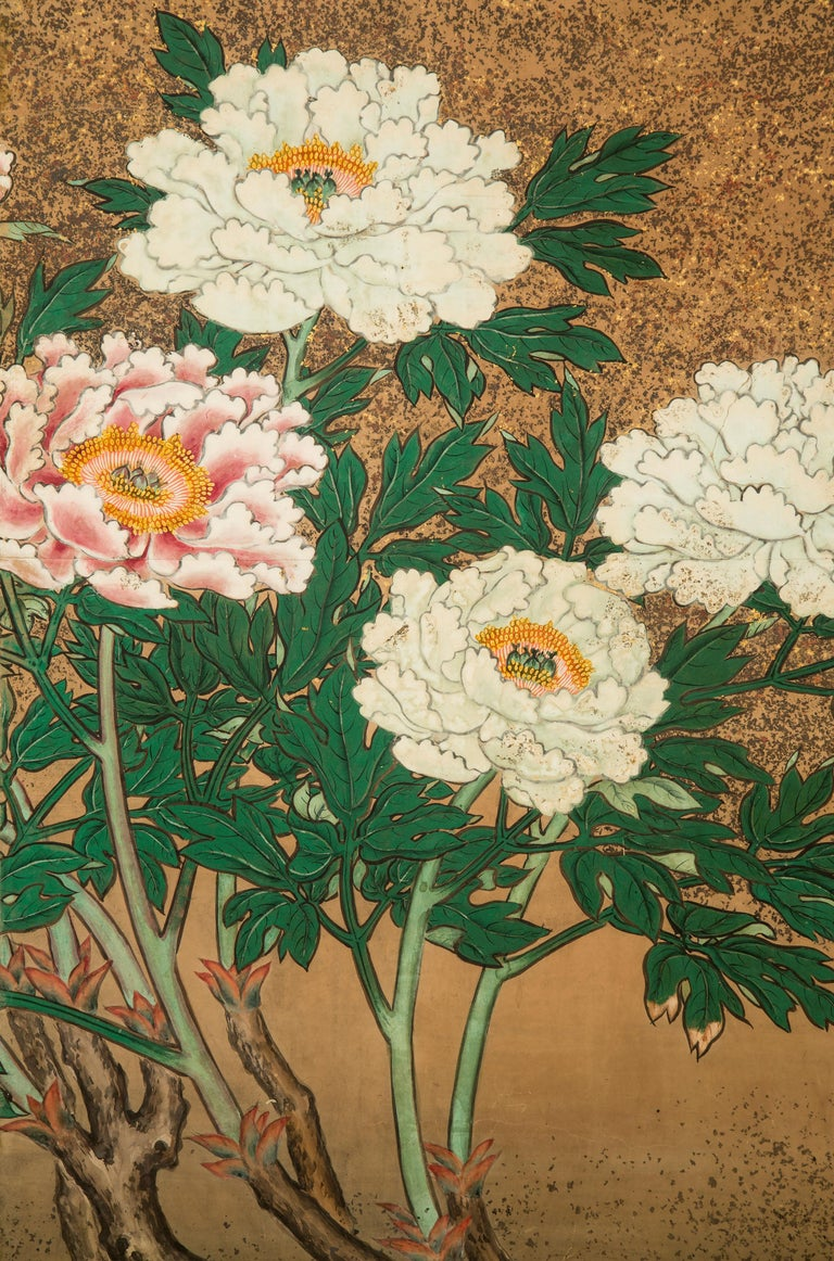 19th Century Japanese 8 Panel Screen of Flowering Peonies For Sale