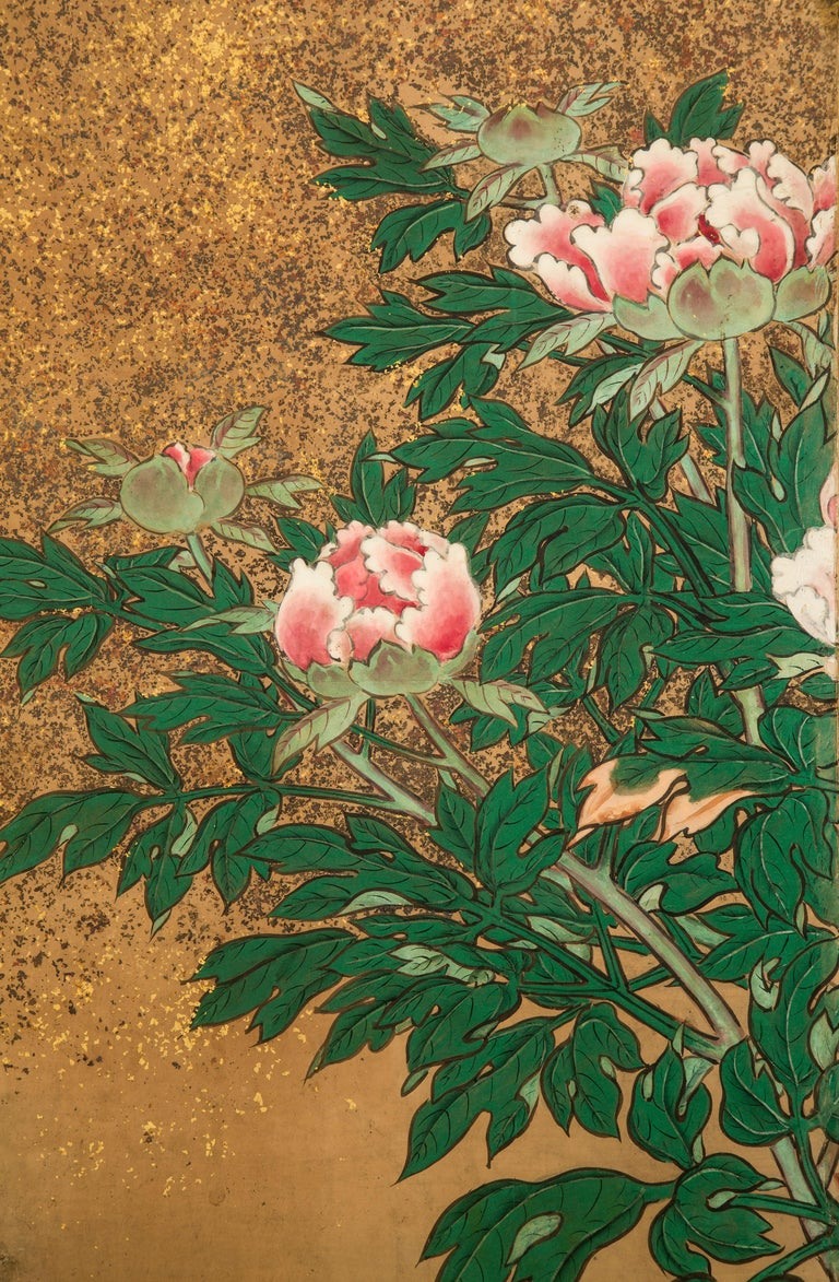 Gold Leaf Japanese 8 Panel Screen of Flowering Peonies For Sale
