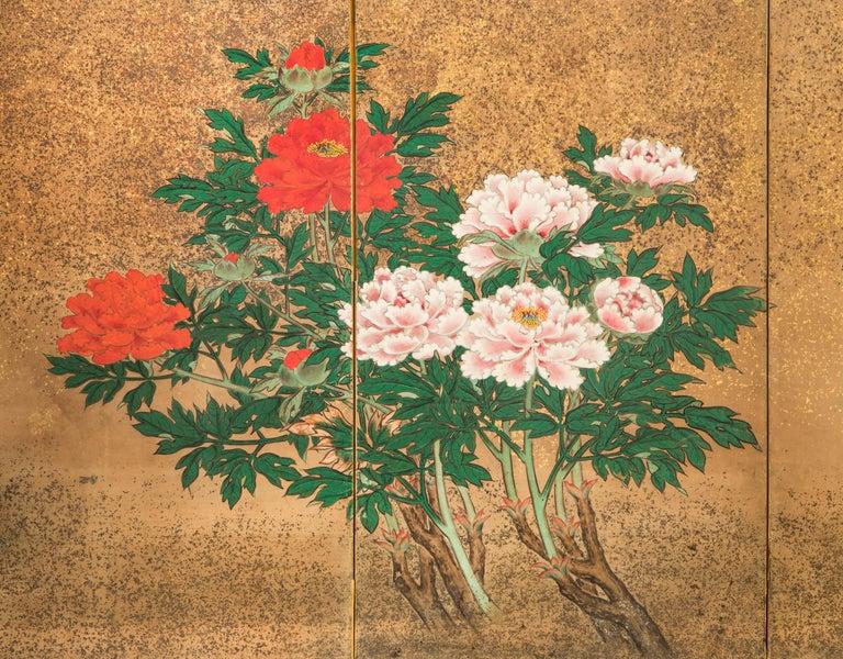 Japanese 8 Panel Screen of Flowering Peonies For Sale 1