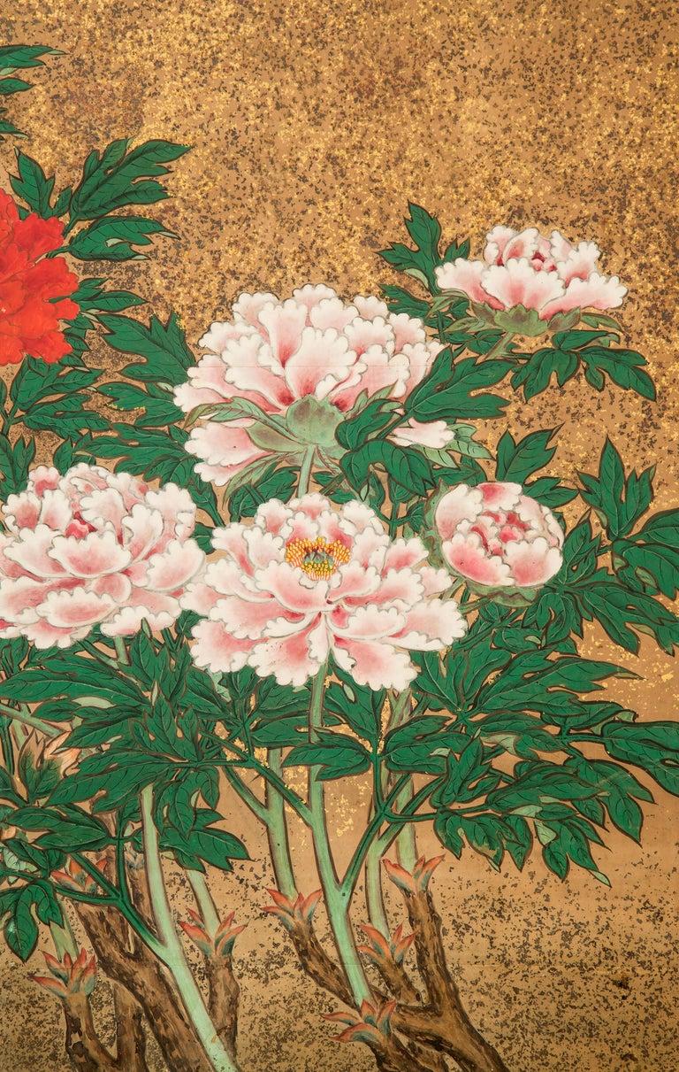 Japanese 8 Panel Screen of Flowering Peonies For Sale 2