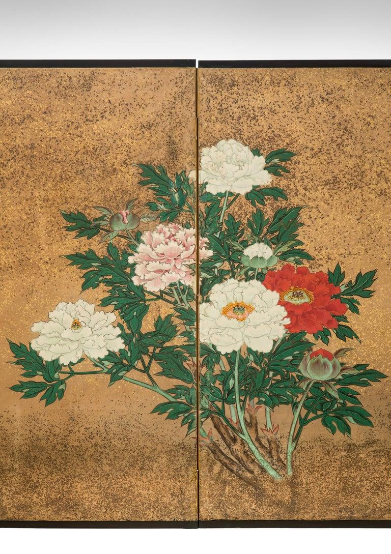 Japanese 8 Panel Screen of Flowering Peonies For Sale 3