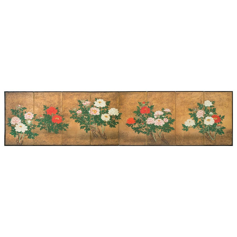 Japanese 8 Panel Screen of Flowering Peonies For Sale