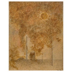 Japanese Abstract Painting of Yellow Sun