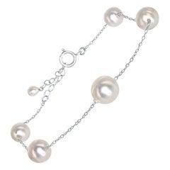 Japanese Akoya Baroque Pearl and Sterling Silver Adjustable Bracelet