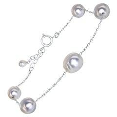 Japanese Akoya Blue Baroque Pearl and Sterling Silver Adjustable Bracelet