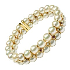 Japanese Akoya Pearls with Rubies and Diamonds Gold Bracelet