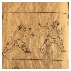 Japanese Antique 1719 Woodblock Samurai Combat Military Sports Book 38 Prints