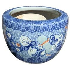 Japanese Antique Big Brilliant Blue Ceramic Planter Bowl