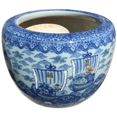 Japanese Antique Big Sail Boats Brilliant Blue Ceramic Planter Bowl