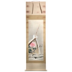 "Japanese Antique Bold Hand-Painted ""Peony Flower & Bird"" Tea Ceremony Scroll"