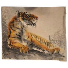 "Japanese Antique Bold Hand Painted ""STEALTH TIGER"" Silk Painting"