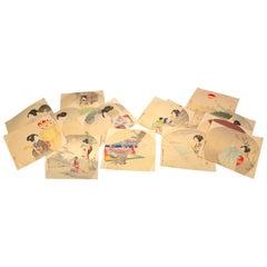 Japanese Antique Brilliant Colors Twenty Woodblock Fan Prints Frameable