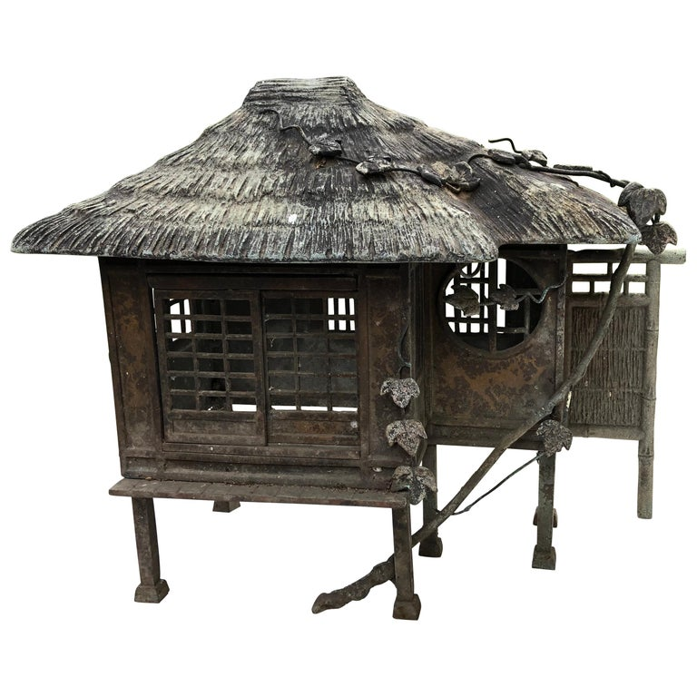 "Japanese Antique Bronze ""Minka Farm House"" Lantern, Only One"