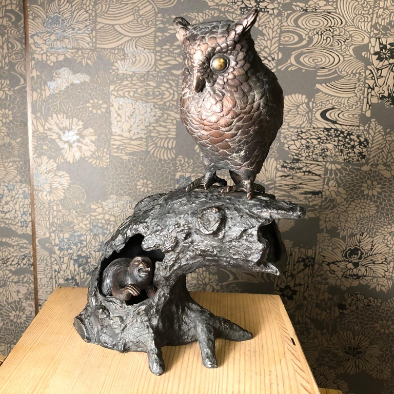 Japanese Antique Bronze Perched Owl and Tree and Friend Original Signed Box For Sale 4