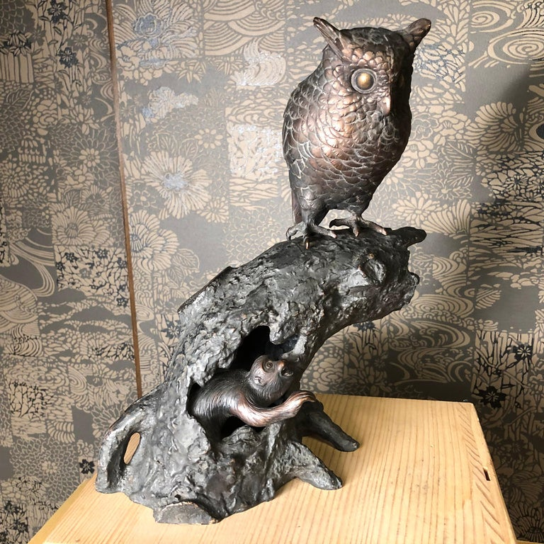 Japanese Antique Bronze Perched Owl and Tree and Friend Original Signed Box For Sale 11