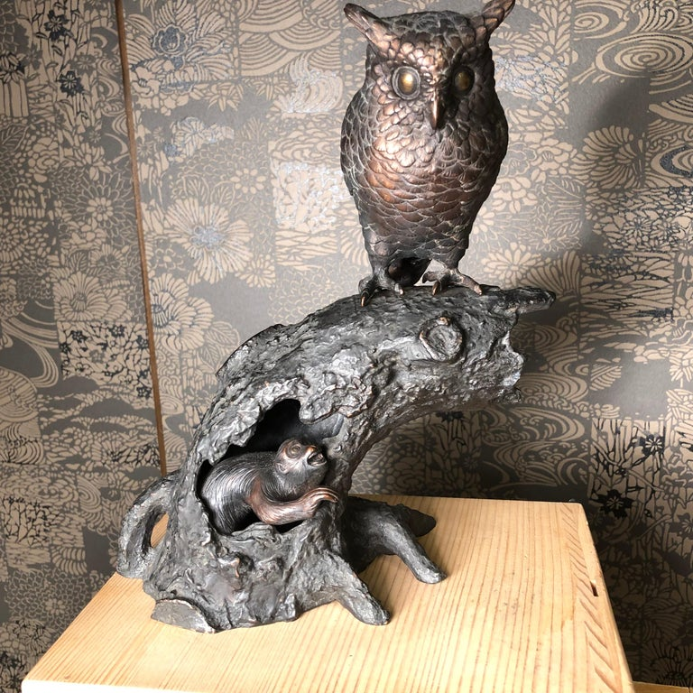 Taisho Japanese Antique Bronze Perched Owl and Tree and Friend Original Signed Box For Sale