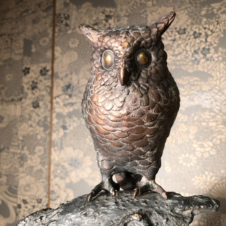 Cast Japanese Antique Bronze Perched Owl and Tree and Friend Original Signed Box For Sale