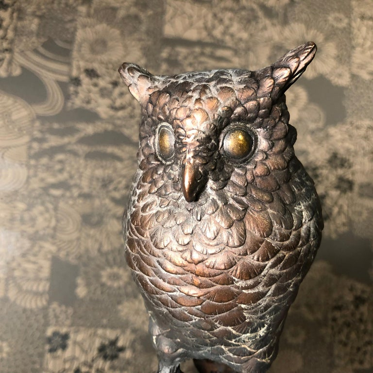 20th Century Japanese Antique Bronze Perched Owl and Tree and Friend Original Signed Box For Sale