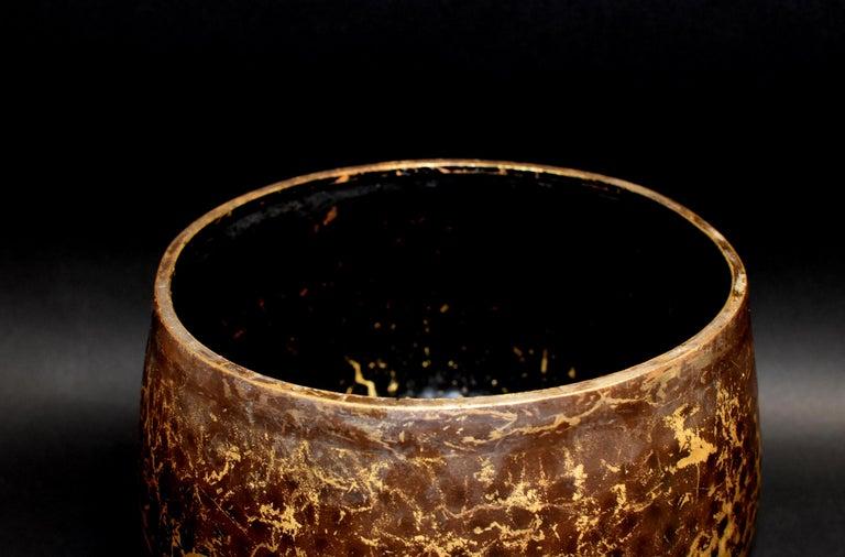 Wood Japanese Antique Bronze Singing Bowl Hand-Hammered Large