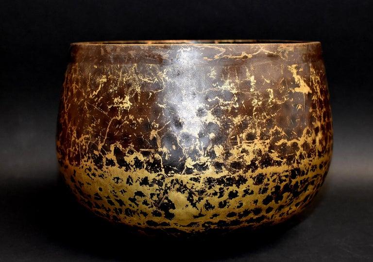 Japanese Antique Bronze Singing Bowl Hand-Hammered Large 1