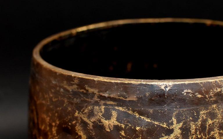 Japanese Antique Bronze Singing Bowl Hand-Hammered Large 3