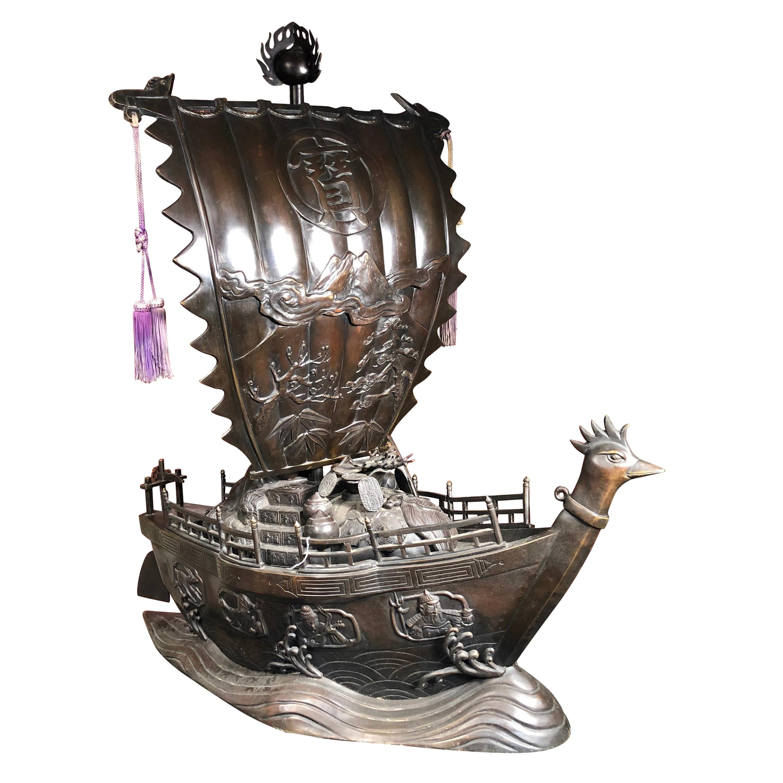 "Japanese Antique Bronze ""Treasure Fortune"" Ship Takarabune Big Masterpiece"