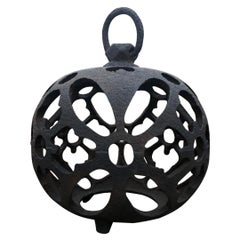 """Japanese Antique """"Butterfly Wings"""" Globe Lantern with Chain"""