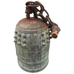 Japanese Antique Cast Bronze Temple Bell with Original Chain and Limb Piece