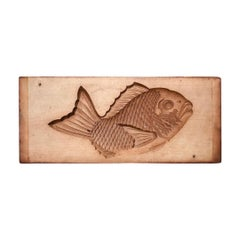 "Japanese Antique Cherrywood ""Fish"" Sugar Cake Mold for Celebrations 19th Century"
