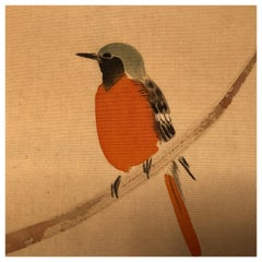 "Japanese Antique Delicate Hand Painted ""SINGING WARBLER"" Silk Bird Painting"