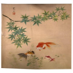 "Japanese Antique Delicate Hand Painted ""THREE GOLD FISH"" Silk Painting"