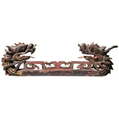 Japanese Dragon Temple Sculpture, Hand Carved and Hand Polychromed, 19th Century