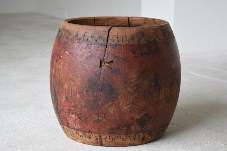 Japanese Antique Drum 1750s-1860s/Plant Cover Wabisabi Art Flower Vase For Sale 4