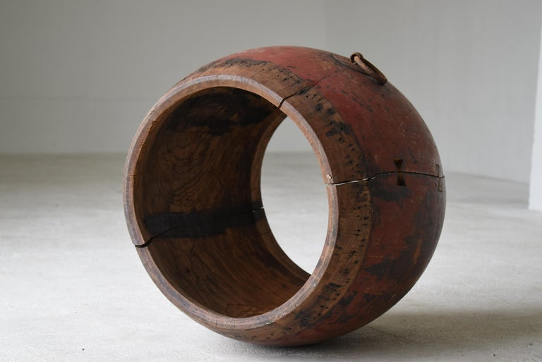Japanese Antique Drum 1750s-1860s/Plant Cover Wabisabi Art Flower Vase For Sale 5