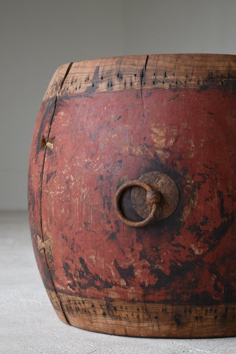 Edo Japanese Antique Drum 1750s-1860s/Plant Cover Wabisabi Art Flower Vase For Sale