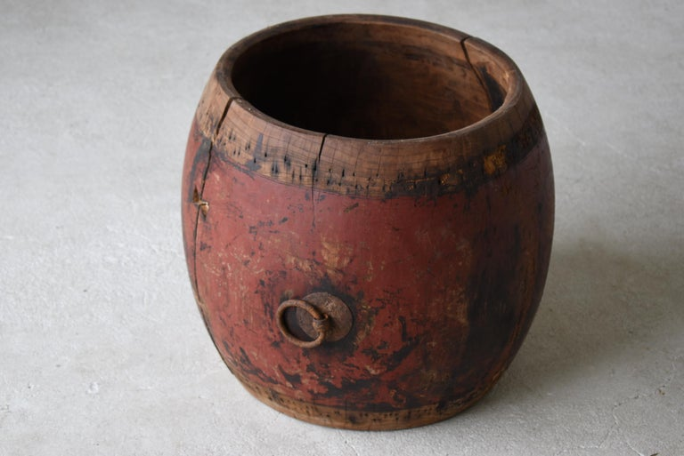 19th Century Japanese Antique Drum 1750s-1860s/Plant Cover Wabisabi Art Flower Vase For Sale