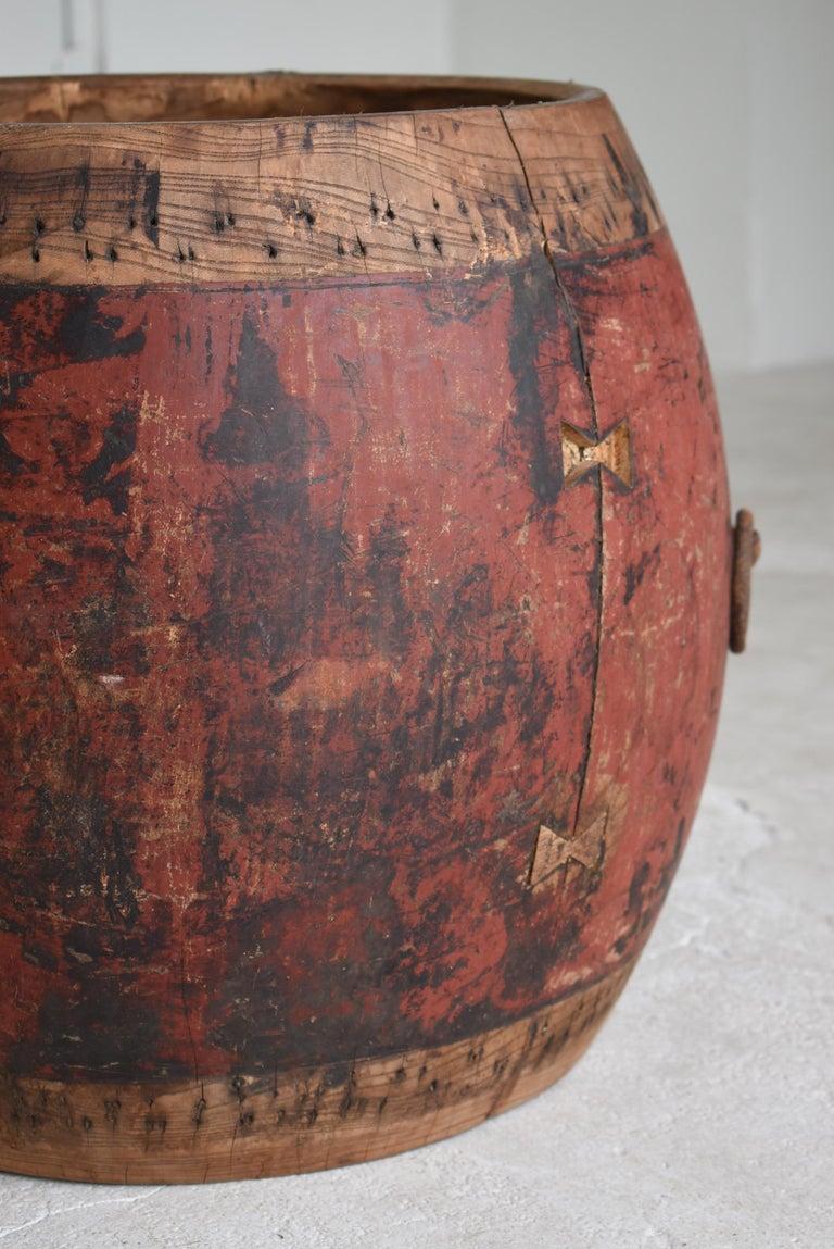 Japanese Antique Drum 1750s-1860s/Plant Cover Wabisabi Art Flower Vase For Sale 2