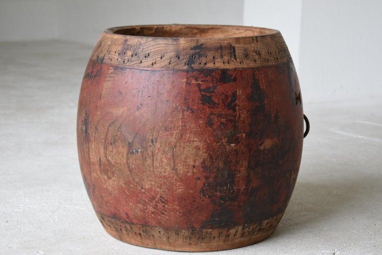 Japanese Antique Drum 1750s-1860s/Plant Cover Wabisabi Art Flower Vase For Sale 3