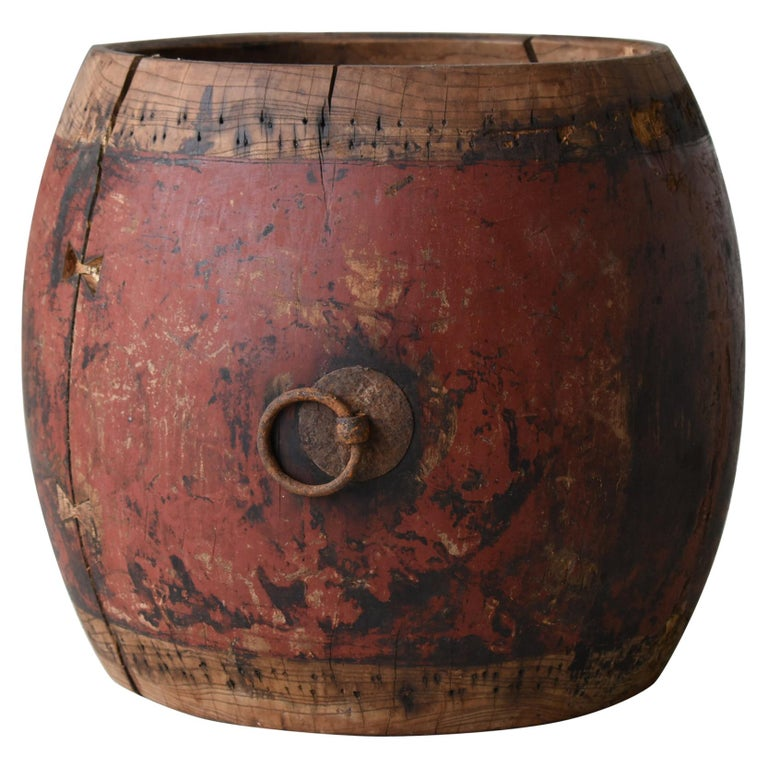 Japanese Antique Drum 1750s-1860s/Plant Cover Wabisabi Art Flower Vase For Sale