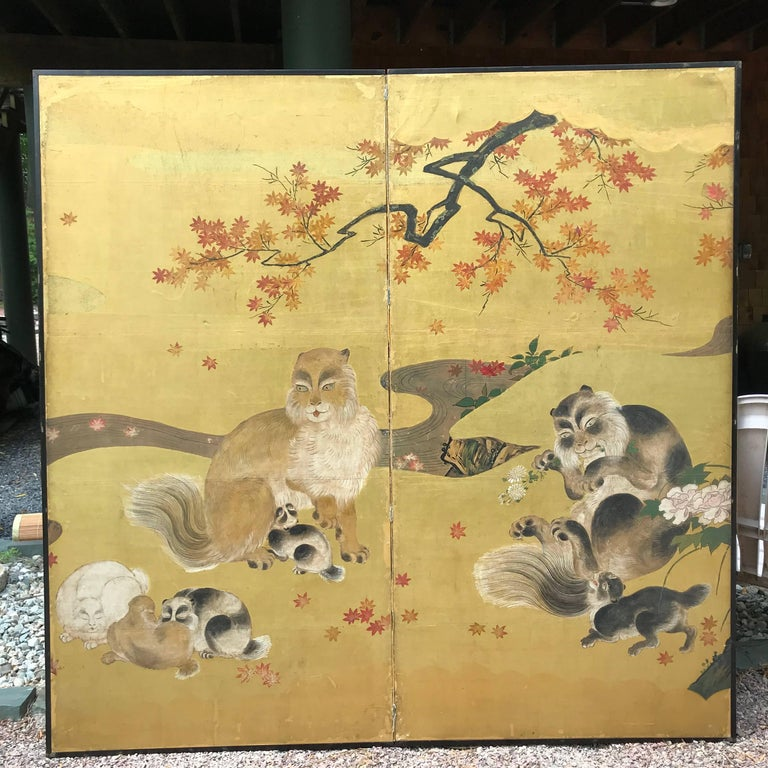Meiji Japanese Antique Edo Cats Two Panel Gold Screen For Sale