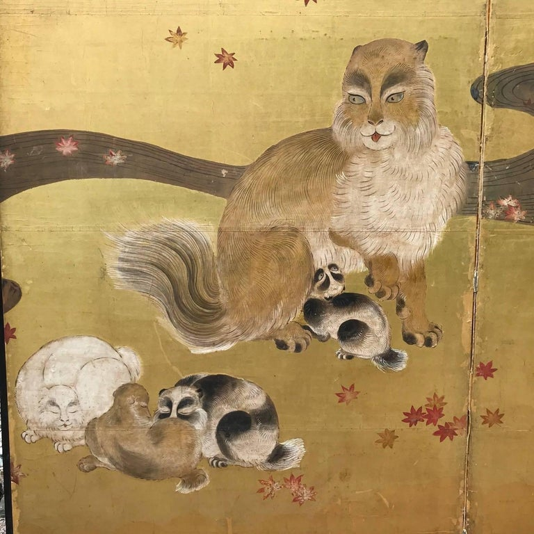 19th Century Japanese Antique Edo Cats Two Panel Gold Screen For Sale