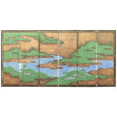 Japanese Antique Evergreen Mountains and Lakes Screen Byobu, Six Panels